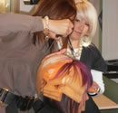 hair colour being applied at Gordon Wilson Hairdressing